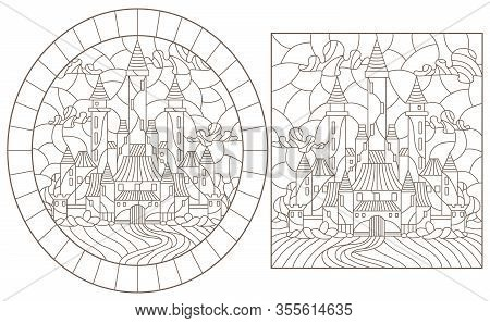 Set Contour Illustration Of Stained Glass Of Landscapes With Ancient Castles, Dark Outlines On A Whi