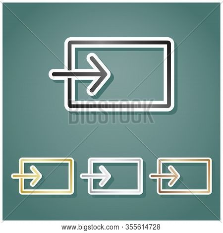 Input Sign. Set Of Metallic Icons With Gray, Gold, Silver And Bronze Gradient With White Contour And