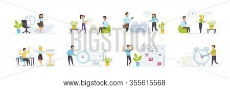Time Management Set With People Characters In Various Situations. Deadline And Pressure At Work, Bus