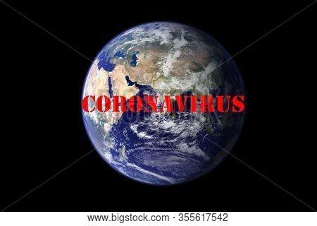 Coronavirus. Covid-19. Coronavirus Pandemic. Coronavirus2019. Earth with text concerning the Coronavirus Pandemic.  Elements of this image furnished by NASA. COVID-19. Earth in dark sky with no stars.