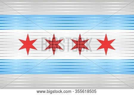 Shiny Grunge Flag Of The Chicago - Illustration,  Three Dimensional Flag Of Chicago