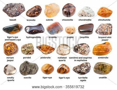 Set Of Various Brown Gemstones With Names ( Bronzite, Pietersite, Clinohumite, Turritella, Miriam, H