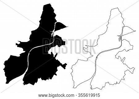 Trier City (federal Republic Of Germany, Rhineland-palatinate) Map Vector Illustration, Scribble Ske