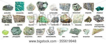 Set Of Various Green Rough Stones With Names (labradorite, Chrysotile, Fluorite, Tinguaite, Phonolit