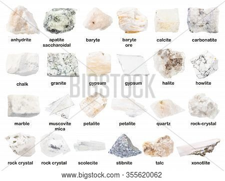 Set Of Various Unpolished White Stones With Names ( Granite, Gypsum, Petalite, Baryte, Howlite,, Roc