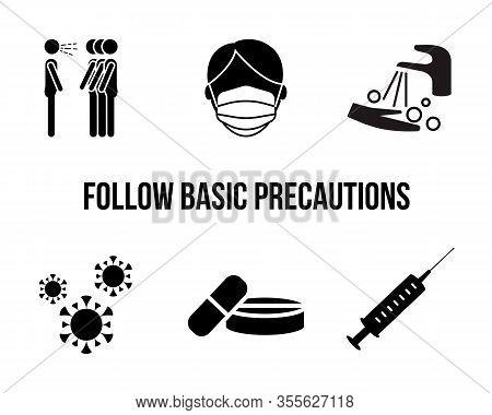 Flu And Virus Flat Icon. Vector Illustration Virus Protection. Follow Basic Precautions.