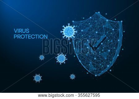 Security Shield For Virus Protection. Coronavirus, 2019-ncov Safety Concept Made By Low Polygonal Wi