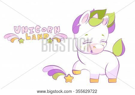 Cute Little White Unicorn Pounding A Hoof With Shooting Star