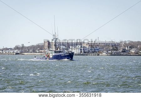 Fairhaven, Massachusetts, Usa - March 14, 2020: Offshore Lobster Boat Miss Emma Returning To Port On