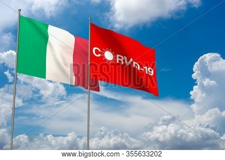 Covid-19 In Italy Background With Italian Flag And Icon. Coronavirus In Italia. 3d Rendering