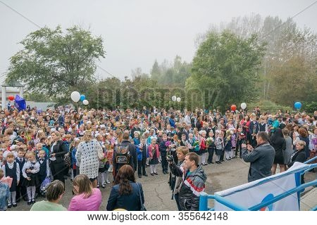 Zarinsk, Russia-september 01, 2017: September 1, The Day Of Knowledge, Students Stand On The Street