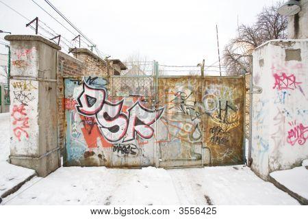 Unique Graffiti Sprayed On A Wall Outside.