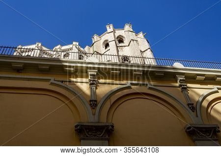 Lisbon - September 03, 2019: Ruins Of The Carmo Convent Seen From The Carmo Street In Downtown Lisbo
