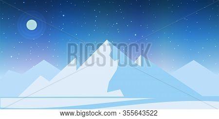 Ice Mountain Landscape. Iceberg At Night With Moon, Stars, Aurora. Vector Illustration.