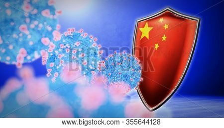 Fight Of The China With Coronavirus - 3d Render