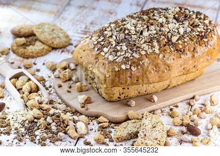 Homemade Loaf Bread. Bread With Brazil Nuts, Walnuts, Flaxseed, Oats, Chickpeas And Soy. Vegan Bread