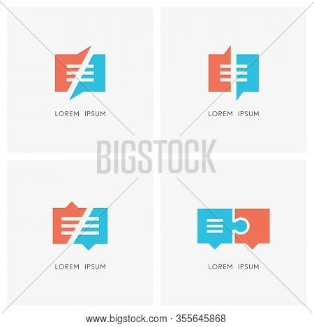Business Conversation Logo Set. Communication Or Chat And Jigsaw Puzzle Symbol - Dialogue And Discus