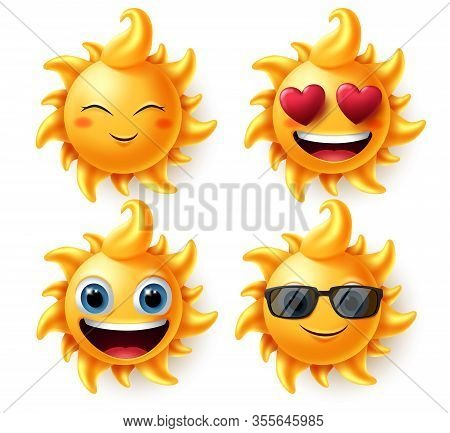 Sun Summer Characters Vector Set. Sun Character In Different Facial Expressions Like In Love, Blissf
