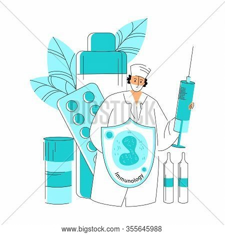 Vector Flat Abstract Doctor With Syringe, Wearing Mask, Who Is Depicted With Protective Shield On Wh