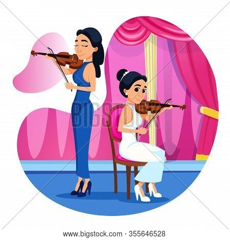 Bright Poster Violin Duet Performance Cartoon. Orchestra Team Accompanies Performances Brilliant Voc