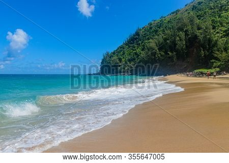 Beautiful Anahola Beach At Kauai In Hawaii Usa