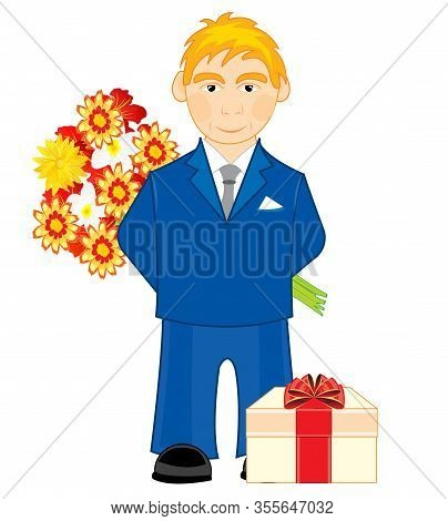 Young Person With Bouquet Flower And Gift