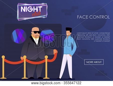 Face Control Service For Night Club Landing Page. Security Agency Advertising Banner. Cartoon Strong