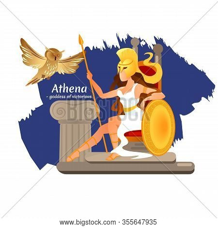 Greek Goddess Athena With Shield And Spear Sit On Throne. Owl Symbol Of Wisdom Sitting On Stone Pill