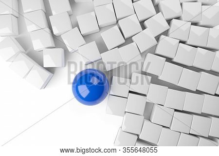 Blue Sphere Disrupts Heap Of White Cubes Over White Background - Disruptive Or Standing Out From The