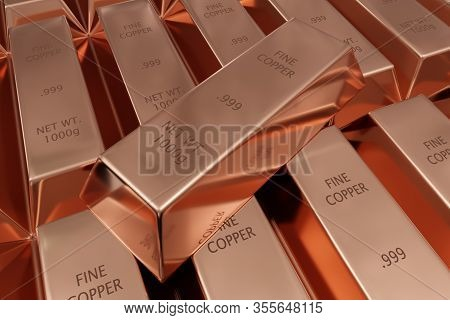 Single Copper Ingot On Rows Of Shiny Copper Ingots Or Bars Background - Essential Electronics Produc