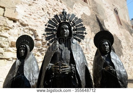Elche, Spain - September 20, 2018:the Three Marys, Group Of Sculptures By The Sculptor Juan Jose Qui