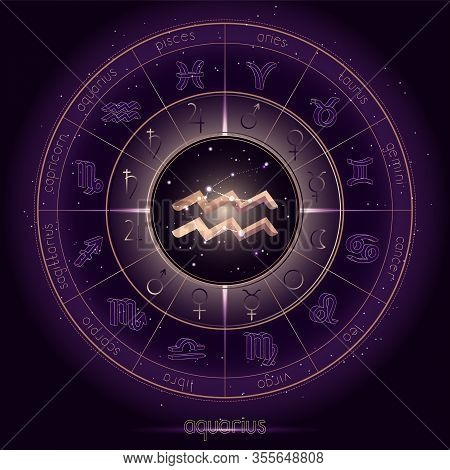 Zodiac Sign And Constellation Aquarius With Horoscope Circle On The Starry Night Sky Background With