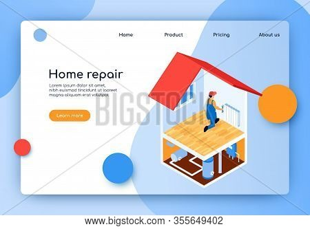 Isometric Lettering Home Repair Landing Page. Laying Complex Engineering Communications. Man Install