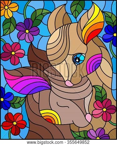 Illustration In Stained Glass Style With Two Fawns On A Background Of Bright Flowers And The Sky