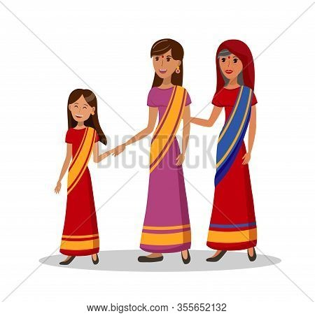 Indian Women, Girl With Mom And Gran Illustration. Woman, Kid And Granny Holding Hands Cartoon Chara