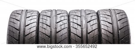 Summer Directional Tires Aquatrek On A White Background, Isolate. Set Of 4 Pieces. Fragment, Elongat