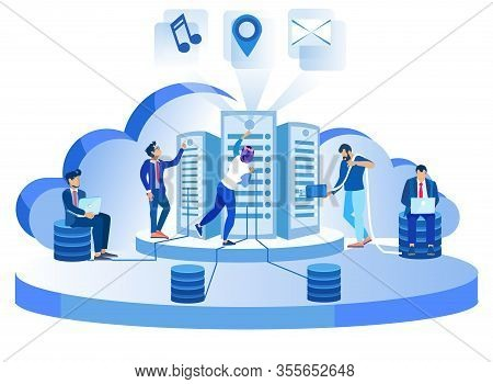 Modern Data Center Hosting Servers Working Vector Staff Illustration Cloud Computer Connection Datab