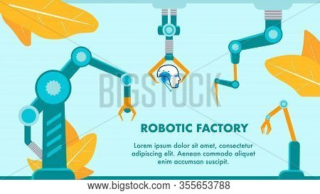 Robotic Factory Promo Flat Vector Banner Template. Hi-tech Manufacturing Typography With Text Space.