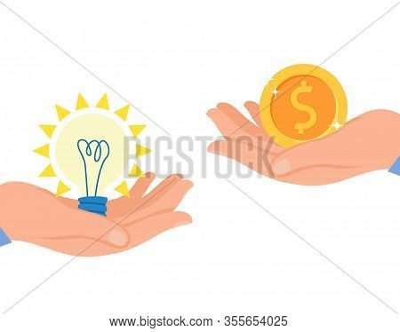 Start Up Monetization Flat Vector Illustration. Patent, Intellectual Property Insurance. Copyright P