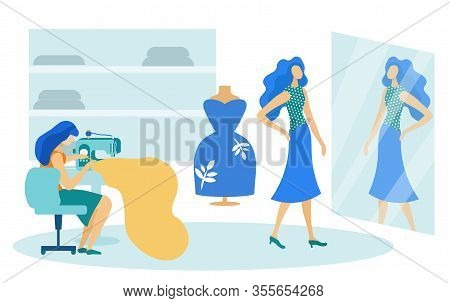 Sewing Studio With Young Woman At Desk Flat Cartoon Vector Illustration. Dressmaker Woman Working Wi