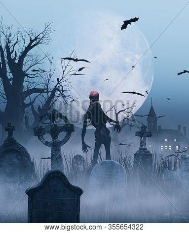Undead In Graveyard Scene,3d Rendering For Book Cover