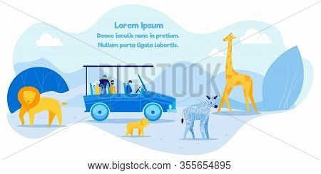 Text Poster Promoting African Safari Recreation. Cartoon Tourists Characters In Car Taking Photos. W