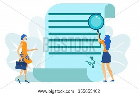 Two Woman Having Deal. Document Signing Flat Cartoon Vector Illustration. Woman Analysing Business C