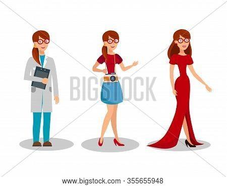 Women Professions Flat Vector Illustrations Set. Female Jobs, Occupations. Women Dress Code For Vari