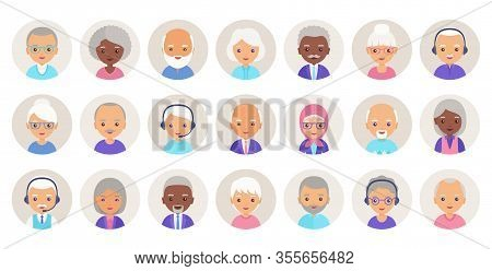 Old People Avatar. Vector. Elderly Person, Seniors Icons In Flat Design. Set Happy Grandfathers And
