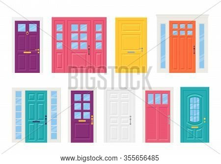 Front Door. Vector. Set House Doors Isolated On White Background. Cartoon Illustration. Building Ent