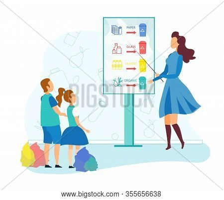 Young Woman Stand With Pointer At Billboard With Infographics Segregation Garbage Type Teach Kids Ho