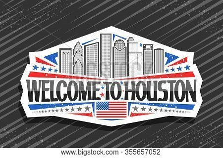 Vector Logo For Houston, White Decorative Label With Line Illustration Of Contemporary Houston City