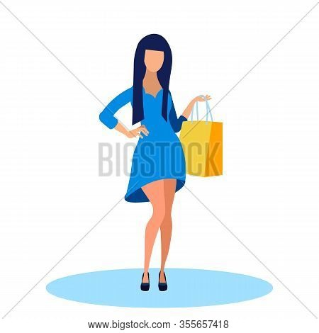 Young Woman In Fashionable Dress Flat Illustration. Fashion Boutique Customer Holding Bag Cartoon Ch