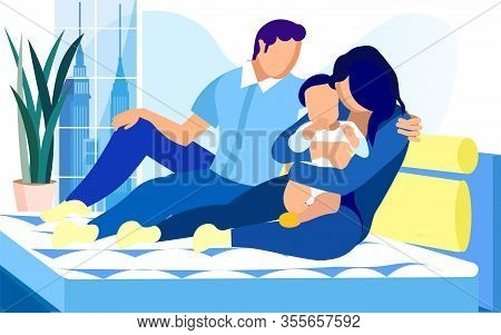 Young Traditional Family With Baby Boy On Bed With Comfortable Mattress. Mother, Holding Kid. Husban